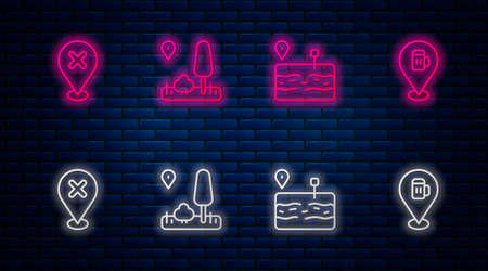 Set line City map navigation, Broken road, Location with cross mark and Alcohol or beer bar location. Glowing neon icon on brick wall. Vector Illustration