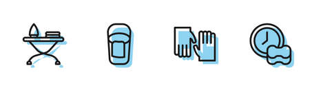 Set line Rubber gloves, Iron and ironing board, Bucket with rag and Washing dishes icon. Vector