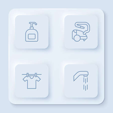 Set line Bottle of liquid soap, Vacuum cleaner, Drying clothes and Shower head. White square button. Vector