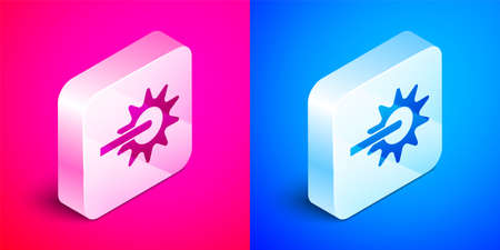 Isometric Cowboy horse riding spur for boot icon isolated on pink and blue background. Silver square button. Vector