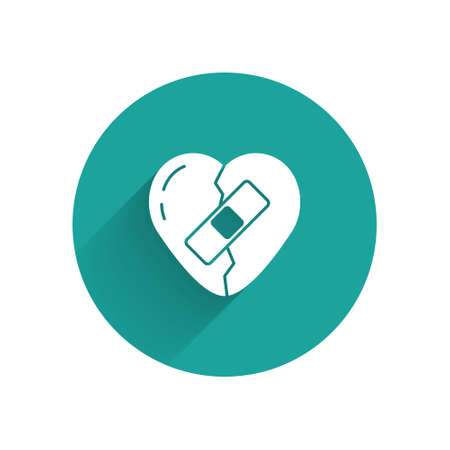 White Healed broken heart or divorce icon isolated with long shadow. Shattered and patched heart. Love symbol. Valentines day. Green circle button. Vector
