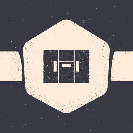 Grunge Wardrobe icon isolated on grey background. Monochrome vintage drawing. Vector