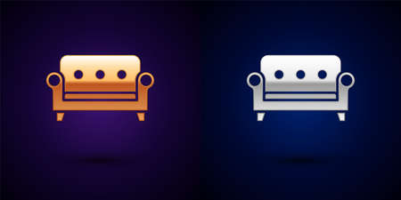 Gold and silver Sofa icon isolated on black background. Vector Vector Illustratie