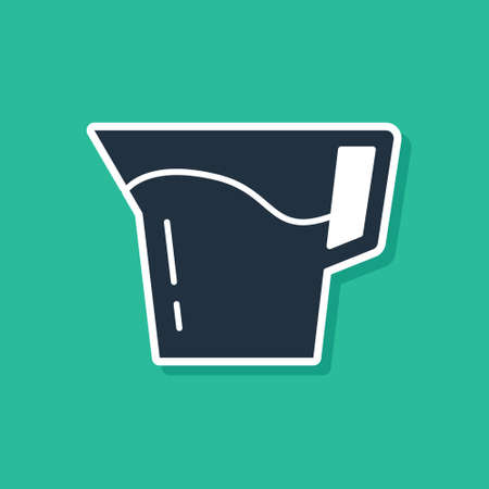 Blue Jug glass with water icon isolated on green background. Kettle for water. Glass decanter with drinking water. Vector