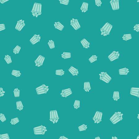 Green Popcorn in cardboard box icon isolated seamless pattern on green background. Popcorn bucket box. Vector