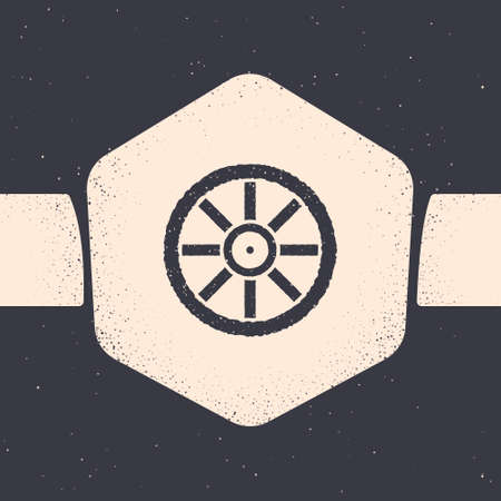 Grunge Old wooden wheel icon isolated on grey background. Monochrome vintage drawing. Vector