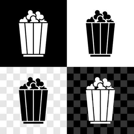 Set Popcorn in cardboard box icon isolated on black and white, transparent background. Popcorn bucket box. Vector 向量圖像