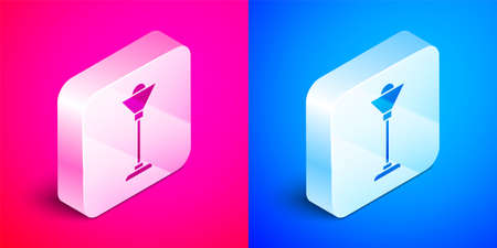 Isometric Floor lamp icon isolated on pink and blue background. Silver square button. Vector