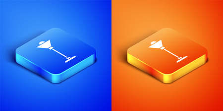 Isometric Floor lamp icon isolated on blue and orange background. Square button. Vector