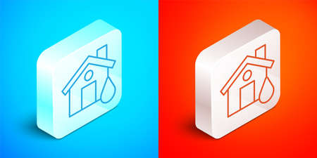 Isometric line House flood icon isolated on blue and red background. Home flooding under water. Insurance concept. Security, safety, protection, protect concept. Silver square button. Vector