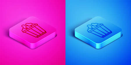 Isometric line Popcorn in cardboard box icon isolated on pink and blue background. Popcorn bucket box. Square button. Vector