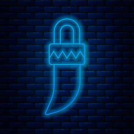 Glowing neon line Native american indian tooth icon isolated on brick wall background. Necklace with tooth. Vector