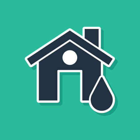 Blue House flood icon isolated on green background. Home flooding under water. Insurance concept. Security, safety, protection, protect concept. Vector