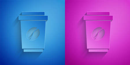 Paper cut Coffee cup to go icon isolated on blue and purple background. Paper art style. Vector Иллюстрация