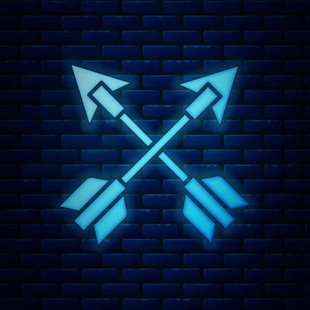 Glowing neon Crossed arrows icon isolated on brick wall background. Vector