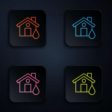 Color neon line House flood icon isolated on black background. Home flooding under water. Insurance concept. Security, safety, protection, protect concept. Set icons in square buttons. Vector