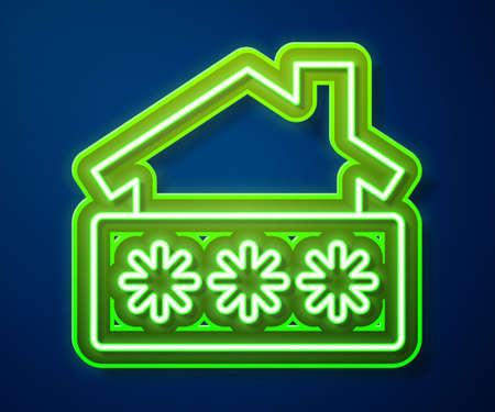 Glowing neon line House with password notification icon isolated on blue background. The concept of the house turnkey. Vector