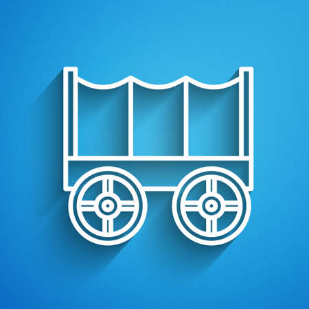White line Wild west covered wagon icon isolated on blue background. Long shadow. Vector Vecteurs