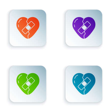 Color Healed broken heart or divorce icon isolated on white background. Shattered and patched heart. Love symbol. Valentines day. Set colorful icons in square buttons. Vector Ilustração