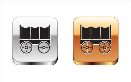 Black Wild west covered wagon icon isolated on white background. Silver and gold square buttons. Vector Vecteurs