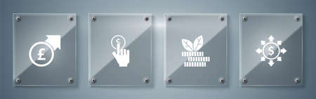 Set Dollar, share, network, plant, Hand holding coin and Financial growth pound. Square glass panels. Vector