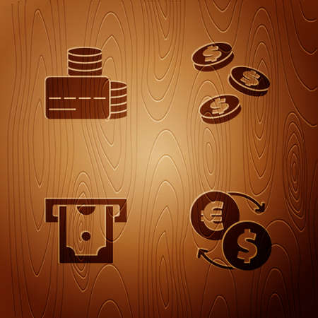 Set Money exchange, Credit card, ATM and money and Coin with dollar on wooden background. Vector