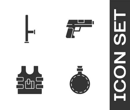 Set Canteen water bottle, Police rubber baton, Bulletproof vest and Pistol or gun icon. Vector
