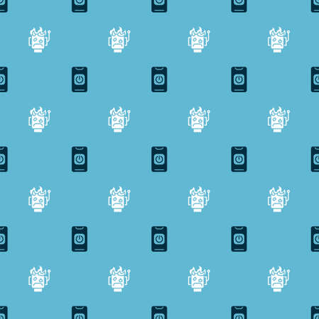 Set Turn off robot from phone and Robot burned out on seamless pattern. Vector