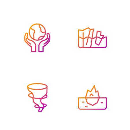 Set line Iceberg, Tornado, Hands holding Earth globe and Glacier melting. Gradient color icons. Vector