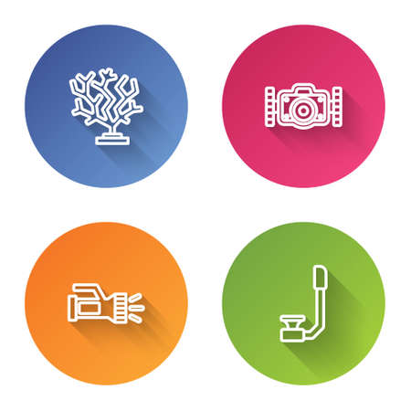 Set line Coral, Photo camera, Flashlight and Snorkel. Color circle button. Vector