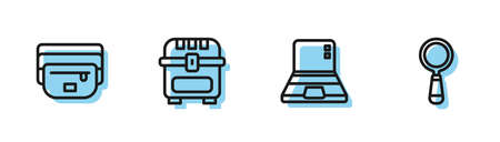 Set line Laptop, Waist bag of banana, Antique treasure chest and Magnifying glass icon. Vector 向量圖像