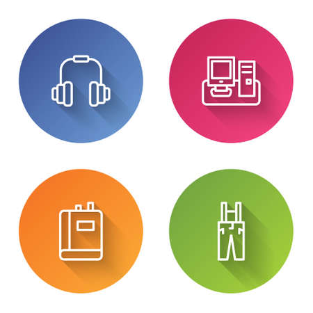Set line Headphones, Monitor with keyboard, Book and Pants suspenders. Color circle button. Vector