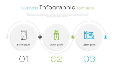 Set line Computer, Pants with suspenders and Book. Business infographic template. Vector