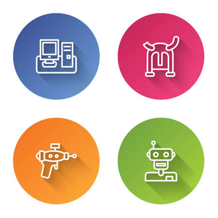 Set line Monitor with keyboard, Viking in horned helmet, Ray gun and Robot. Color circle button. Vector