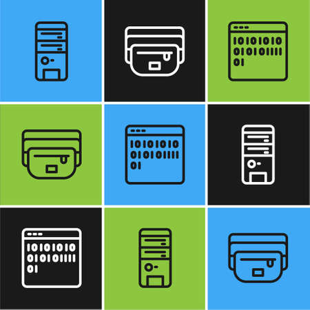 Set line Computer, Binary code and Waist bag of banana icon. Vector