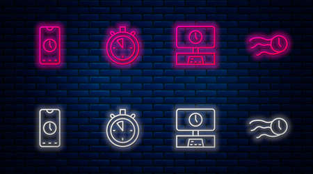 Set line Stopwatch, Smart Tv time, Alarm clock app mobile and Time flies on the. Glowing neon icon on brick wall. Vector