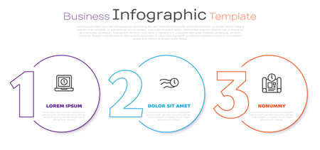 Set line Laptop time, Time flies on the clock and Project plan. Business infographic template. Vector 向量圖像