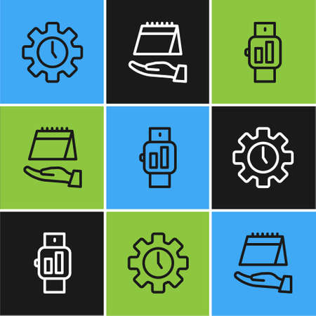 Set line Time Management, Smartwatch and Calendar icon. Vector