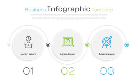 Set line Work time, Laptop and Target sport. Business infographic template. Vector