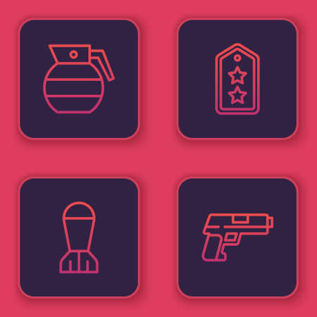 Set line Hand grenade, Aviation bomb, Military rank and Pistol or gun. Blue square button. Vector Illustration