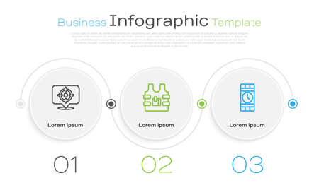 Set line Target sport, Bulletproof vest and Dynamite and timer clock. Business infographic template. Vector