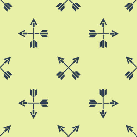Crossed arrows icon isolated seamless pattern on yellow background. Vector