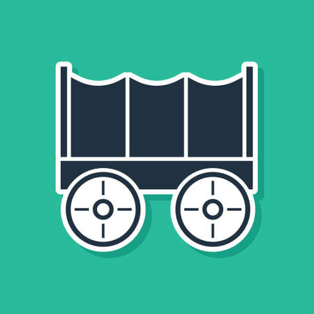 Blue Wild west covered wagon icon isolated on green background. Vector