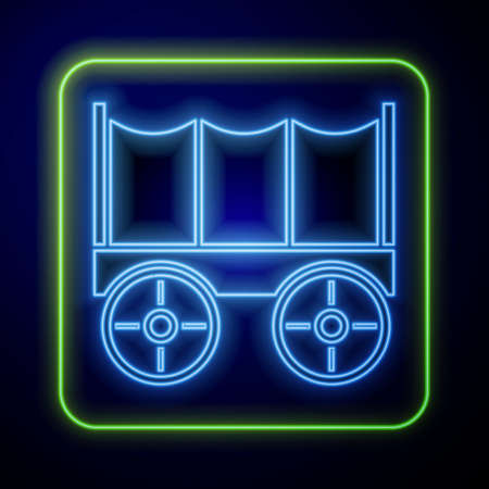 Glowing neon Wild west covered wagon icon isolated on blue background. Vector