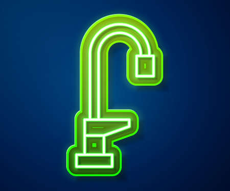 Glowing neon line Water tap icon isolated on blue background. Vector