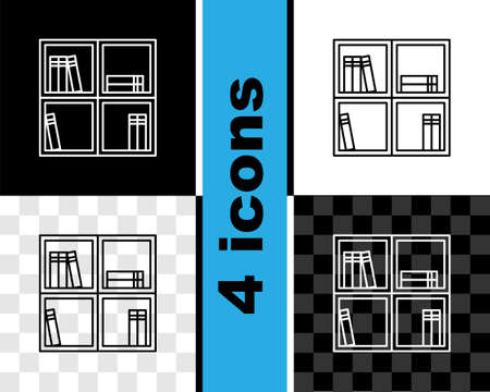 Set line Shelf with books icon isolated on black and white, transparent background. Shelves sign. Vector