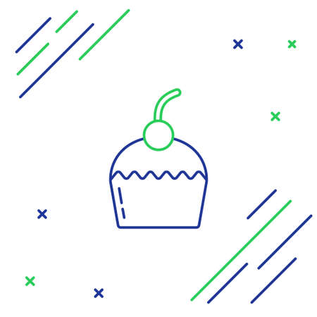 Line Cake icon isolated on white background. Happy Birthday. Colorful outline concept. Vector 向量圖像