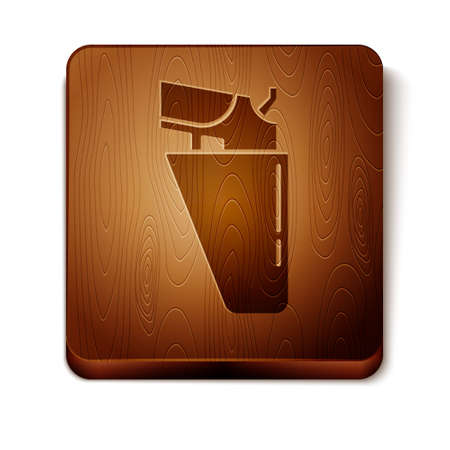 Brown Revolver gun in holster icon isolated on white background. Wooden square button. Vector