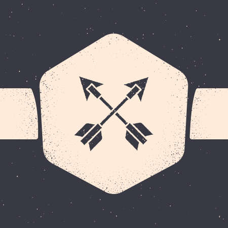Grunge Crossed arrows icon isolated on grey background. Monochrome vintage drawing. Vector