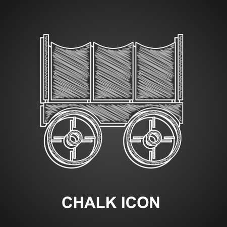 Chalk Wild west covered wagon icon isolated on black background. Vector